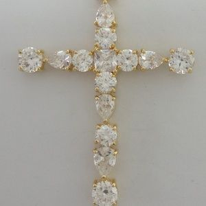Jewelry - Sterling 925 QVC Diamonique LARGE Cross Pendant